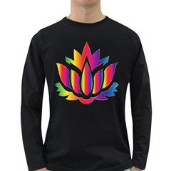 Rainbow Lotus Flower Silhouette Long Sleeve Dark T-Shirts