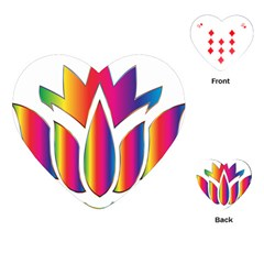 Rainbow Lotus Flower Silhouette Playing Cards (heart)