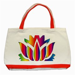 Rainbow Lotus Flower Silhouette Classic Tote Bag (red)