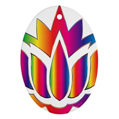 Rainbow Lotus Flower Silhouette Oval Ornament (two Sides)