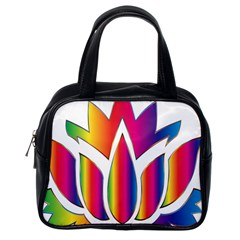 Rainbow Lotus Flower Silhouette Classic Handbags (One Side)