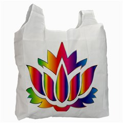 Rainbow Lotus Flower Silhouette Recycle Bag (Two Side)
