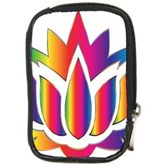 Rainbow Lotus Flower Silhouette Compact Camera Cases