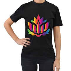 Rainbow Lotus Flower Silhouette Women s T Shirt (black)