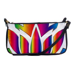Rainbow Lotus Flower Silhouette Shoulder Clutch Bags