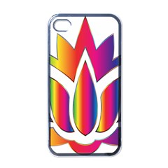 Rainbow Lotus Flower Silhouette Apple Iphone 4 Case (black)