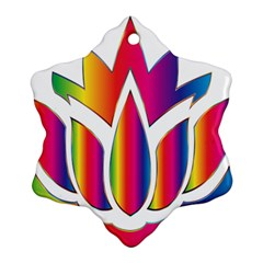 Rainbow Lotus Flower Silhouette Ornament (Snowflake)