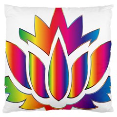 Rainbow Lotus Flower Silhouette Large Cushion Case (One Side)