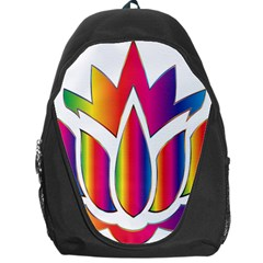 Rainbow Lotus Flower Silhouette Backpack Bag