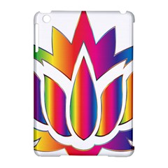 Rainbow Lotus Flower Silhouette Apple Ipad Mini Hardshell Case (compatible With Smart Cover)