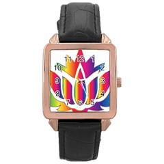 Rainbow Lotus Flower Silhouette Rose Gold Leather Watch