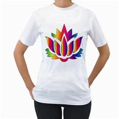 Rainbow Lotus Flower Silhouette Women s T Shirt (white)