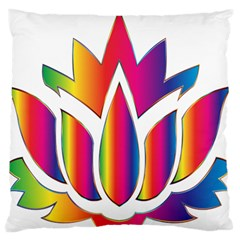 Rainbow Lotus Flower Silhouette Large Flano Cushion Case (two Sides)