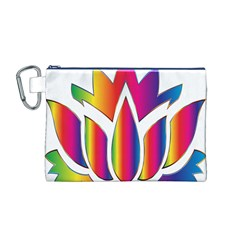 Rainbow Lotus Flower Silhouette Canvas Cosmetic Bag (m)