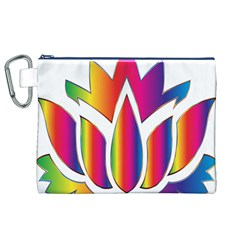 Rainbow Lotus Flower Silhouette Canvas Cosmetic Bag (xl)