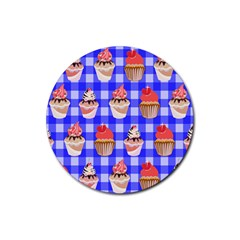 Cake Pattern Rubber Coaster (round)