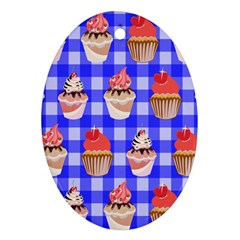Cake Pattern Oval Ornament (two Sides)