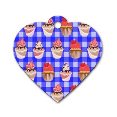Cake Pattern Dog Tag Heart (two Sides)