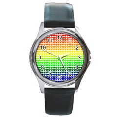 Rainbow Love Round Metal Watch