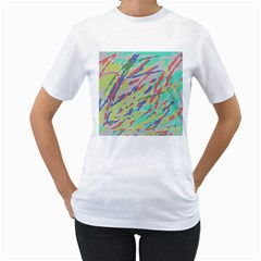 Crayon Texture Women s T-Shirt (White) (Two Sided)