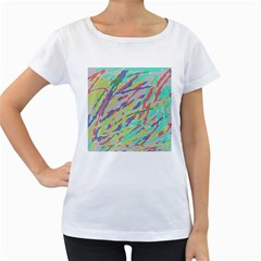 Crayon Texture Women s Loose Fit T Shirt (white)