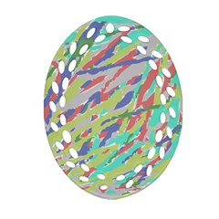 Crayon Texture Oval Filigree Ornament (Two Sides)