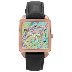Crayon Texture Rose Gold Leather Watch