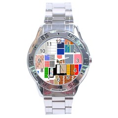 Texture Package Stainless Steel Analogue Watch