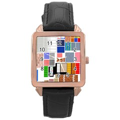 Texture Package Rose Gold Leather Watch
