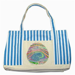 Prismatic Fingerprint Striped Blue Tote Bag
