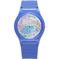 Prismatic Fingerprint Round Plastic Sport Watch (s)