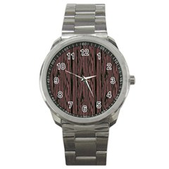 Grain Woody Texture Seamless Pattern Sport Metal Watch