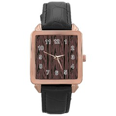 Grain Woody Texture Seamless Pattern Rose Gold Leather Watch
