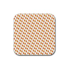Candy Corn Seamless Pattern Rubber Square Coaster (4 Pack)