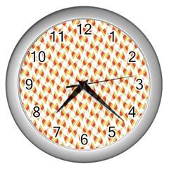 Candy Corn Seamless Pattern Wall Clocks (silver)