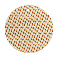 Candy Corn Seamless Pattern Round Ornament (Two Sides)