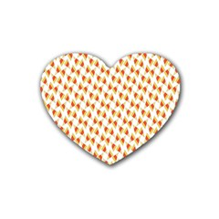 Candy Corn Seamless Pattern Rubber Coaster (Heart)
