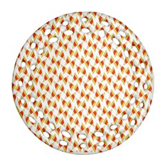 Candy Corn Seamless Pattern Round Filigree Ornament (two Sides)