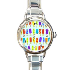 Popsicle Pattern Round Italian Charm Watch