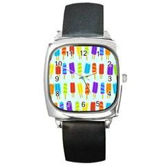 Popsicle Pattern Square Metal Watch