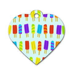 Popsicle Pattern Dog Tag Heart (One Side)
