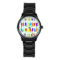 Popsicle Pattern Stainless Steel Round Watch
