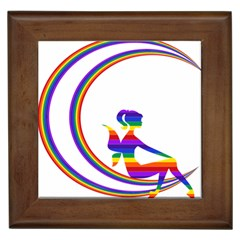 Rainbow Fairy Relaxing On The Rainbow Crescent Moon Framed Tiles