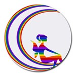 Rainbow Fairy Relaxing On The Rainbow Crescent Moon Round Mousepads Front