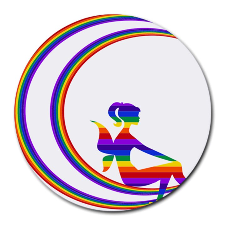 Rainbow Fairy Relaxing On The Rainbow Crescent Moon Round Mousepads