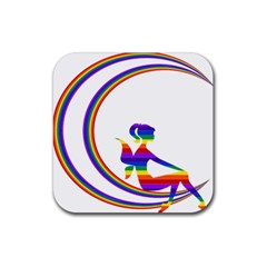 Rainbow Fairy Relaxing On The Rainbow Crescent Moon Rubber Square Coaster (4 Pack)