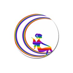 Rainbow Fairy Relaxing On The Rainbow Crescent Moon Magnet 3  (round)