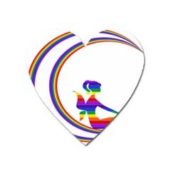 Rainbow Fairy Relaxing On The Rainbow Crescent Moon Heart Magnet