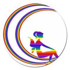 Rainbow Fairy Relaxing On The Rainbow Crescent Moon Magnet 5  (round)