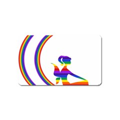 Rainbow Fairy Relaxing On The Rainbow Crescent Moon Magnet (Name Card)